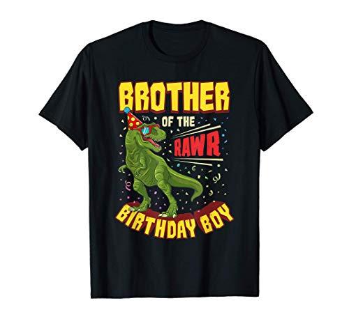 Fratello del compleanno del ragazzo dinosauro Rawr T Rex Maglietta