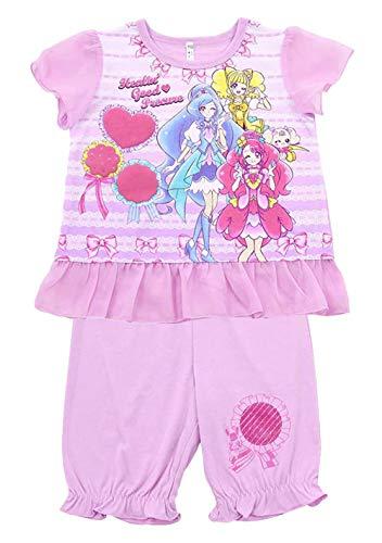 ヒーリングっどプリキュア パジャマ 半袖 カラチェンパジャマ Tシャツ+ハーフパンツ pz-bd-ss10(ラベンダー,100cm)