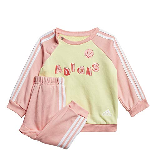 adidas Baby Graphic French Terry Jogging Anzug, Yeltin/Glopnk/White, 92
