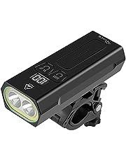 RYACO fietsverlichting, [UPGRATED] Type-C USB oplaadbare fietskoplamp met digitale LED-display, IP65 waterdichte mountainbike-koplamp, 2 * LED, 1 * COB, 10 modi, zaklamp