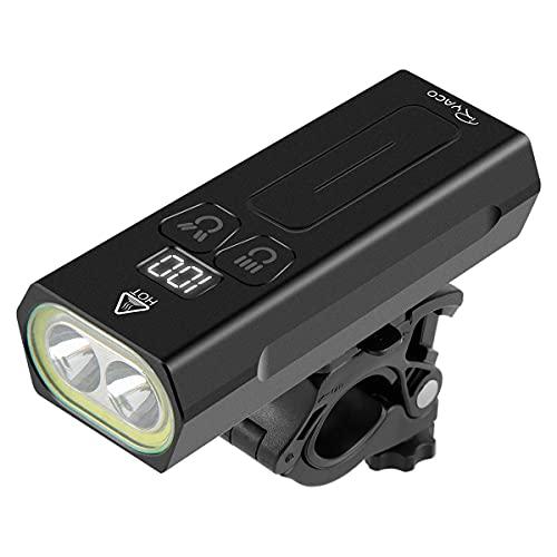 Ryaco Luce per Bicicletta, [AGGIORNATA] Lampada Frontale per Bicicletta Ricaricabile USB di Tipo C con luci a LED e Display Digitale, Luce Anteriore per Mountain Bike Impermeabile IPX65