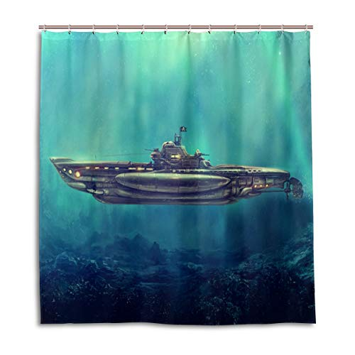 CPYang Duschvorhänge Ocean U-Boot Schiff Wasserdicht Schimmelresistent Badvorhang Badezimmer Home Decor 168 x 182 cm mit 12 Haken