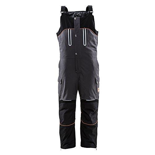 RefrigiWear Men's PolarForce Water-Resistant Warm Insulated Bib Overalls with Performance Flex (Black/Charcoal, Medium)