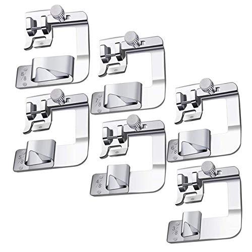 Máquinas plegadoras de 6 tamaños, cubiertas de pie de dobladillo ancho (3/8, 4/8, 5/8, 6/8, 7/8, 8/8 pulgadas) adecuadas para la máquina de coser más baja Vástago de válvula, 6