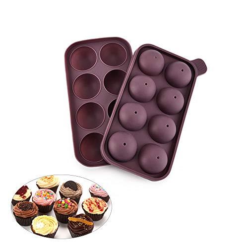 2 halfronde siliconen chocoladetaartvormen, levensmiddelkwaliteit, anti-aanbaklaag, BPA-vrij, bakbare DIY-vormen geschikt voor chocolade/cakedessert/ijs/thee taartjes/voegen/lolly/koekjes/gelei.