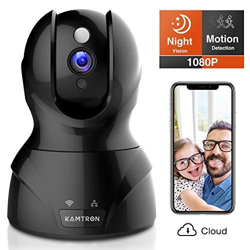 Kamtron Sicherheitskamera 1080P Haustierkamera kabellos Indoor Pan / Neiger / Zoom Home Camera Baby Monitor IP-Kamera mit Bewegungserkennung Zwei-Wege-Audio, Nachtsicht (Cloud Storage)