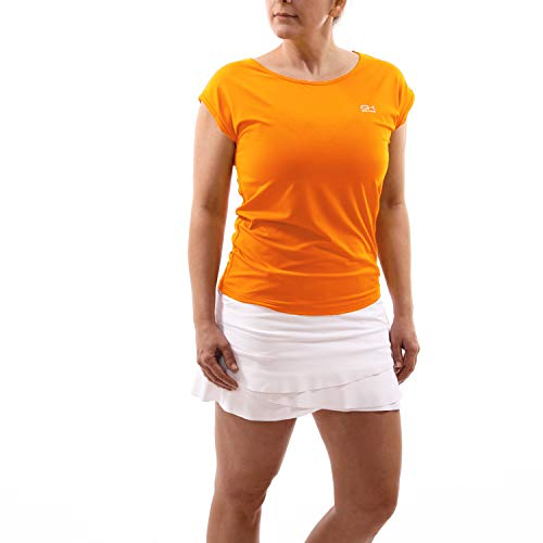 Sportkind Mädchen & Damen Tennis, Fitness, Sport T-Shirt Loose Fit, atmungsaktiv, UV-Schutz UPF 50+, orange, Gr. 134