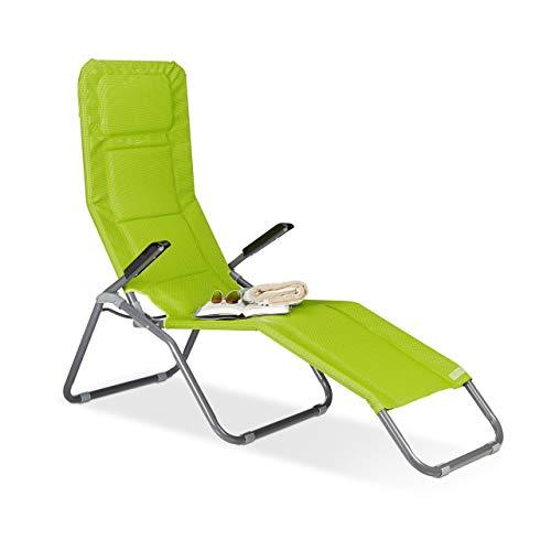 Relaxdays Chaise longue Transat pliable plage jardin relaxation dossier inclinable jusqu'à 150 kg, vert