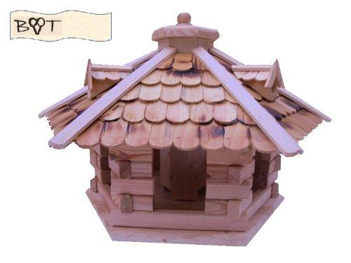 Vogelhaus -Holz Nistkästen & Vogelhäuser- aus Holz, Design Vogelvilla natur hell SG40ngMS geflammt mit Ständer - 3