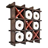 Rustic Tic-Tac-Toe Toilet Paper Holder for Bathroom – Playful Storage Shelves for Toilet Tissue in Torched Brown Color – Freestanding or Wall Mount Bath Shelves for Your Farmhouse Décor
