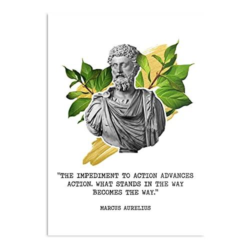 Poster decorativo da parete con motivo Marcus Aurelius The Obstacle is The Way Design & Art Print.
