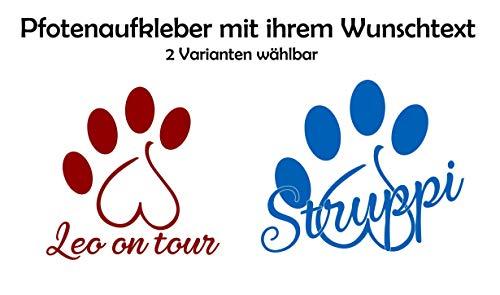 ***NEU Folienaufkleber-Sticker-Wandtattoo**** - Tier/Hunde Pfote HERZ und Ihrem WUNSCHTEXT - Größen u. Farbauswahl