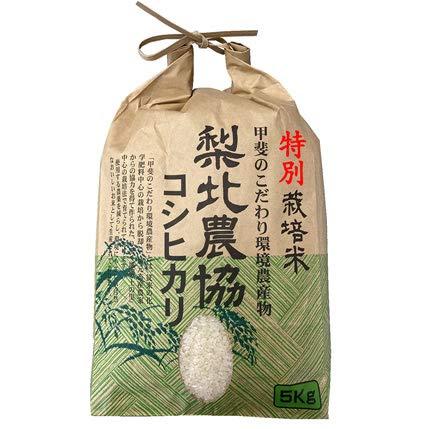 【精米】山梨県産 特別栽培米 無洗米(袋再利用) 白米 梨北農協 こしひかり 5kg(長期保存包装)x1袋 令和元年産