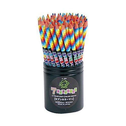 1本で7色カラーとHBが一緒になったえんぴつ 7色カラー&HB鉛筆(丸軸 約17.5cm) 60本セット