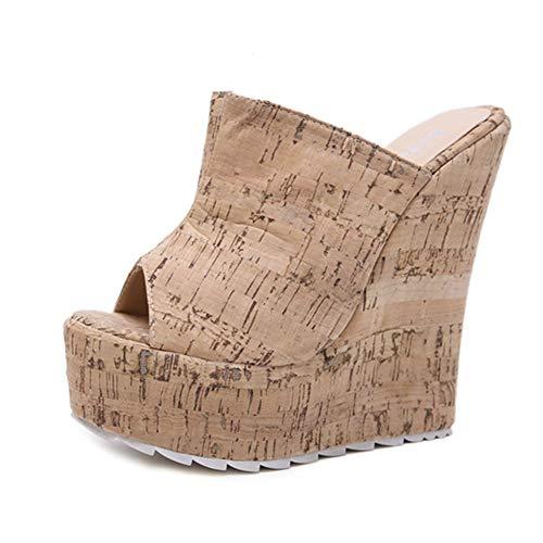 Sandalen Met Sleehak Dames Hoge Hakken Eenvoudig En Comfortabel Sandalen Met Sleehak Strandpantoffels Voor Binnen En Buiten,35