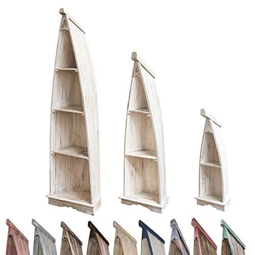 Oriental Galerie Regal in Bootsform Badregal Bootsregal Boot Regal Standregal Aufbewahrung Albesia Holz, Größe:Klein, Farbe:Whitewash