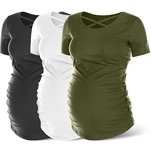 Rnxrbb Womens Short Sleeve Maternity Shirts Summer Maternity Tops Basic Casual Pregnancy Clothes 3 Pack,White&Army Green&Black,M