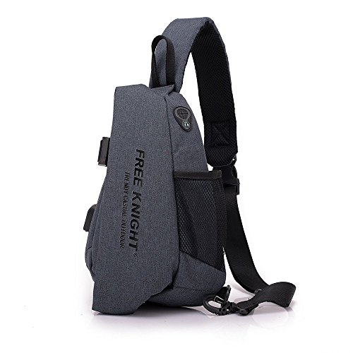 Sling Bag Pack, TechCode Waterproof Outdoor Sling Shoulder Backpacks Triangle Rucksack Multipurpose Daypacks Sports Chest Bag with Charging Hole for Outdoor Biking Camping Hiking Travel (Dark Grey)