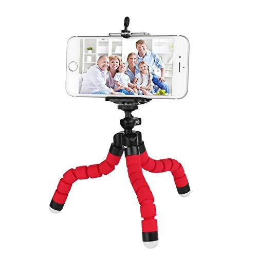 Mini Treppiede leggero e portatile per Smartphone, Flessibile tipo octopus, Compatibile con tutti gli smartphone con clip universale e vite 1/4'. COLORE ROSSO