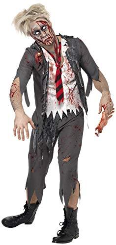 Smiffys Herren Zombie-Schuljunge Kostüm, Jacke mit angesetztem Hemd, Schlips und Hose, Größe: S, 32928