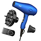 Berta Lightweight Hair Dryer with Diffuser, 1875W Professional Ionic Blow Dryer Quite Hairdryer DC Motor, 2 Speeds and 3 Heat Settings, Cool Button, Concentrator, Purple