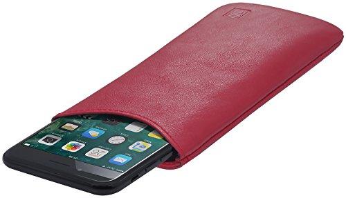 StilGut Pouch, Universal-Hülle aus feinstem Nappaleder | Sleeve Handyhülle Größe L passend für z.B. Samsung Galaxy S7, Huawei Honor P9 Lite, Samsung S6 Edge, OnePlus X u.a, Rot Nappa