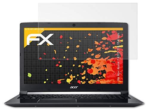 atFolix Panzerfolie kompatibel mit Acer Aspire 7 A715-71G 15,6 inch Schutzfolie, entspiegelnde & stoßdämpfende FX Folie (2X)