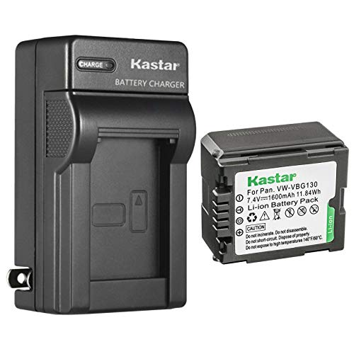 Kastar 1-Pack VW-VBG130 Battery and AC Wall Charger Replacement for Panasonic HDC-SD20K, HDC-SD100, HDC-SD100GK, HDC-SD200, HDC-SD300, HDC-SD600, HDC-SD700, HDC-SD707, HDC-SDT750, HDC-SDT750K Camera
