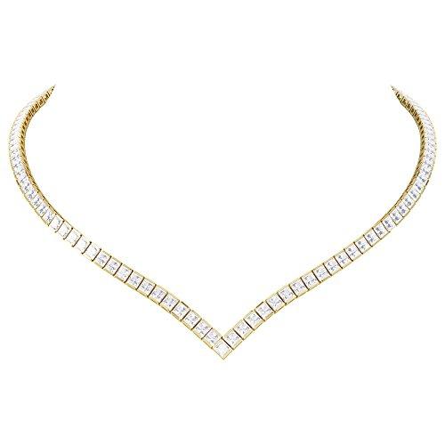 Prizess-Schliff Diamant Damen-Halskette Collier - 43cm - Silber - Gelbgold
