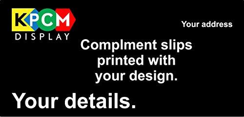 bedruckt Kompliment, 210mm x 99mm–120gsm ungestrichenes Papier, 250Stück