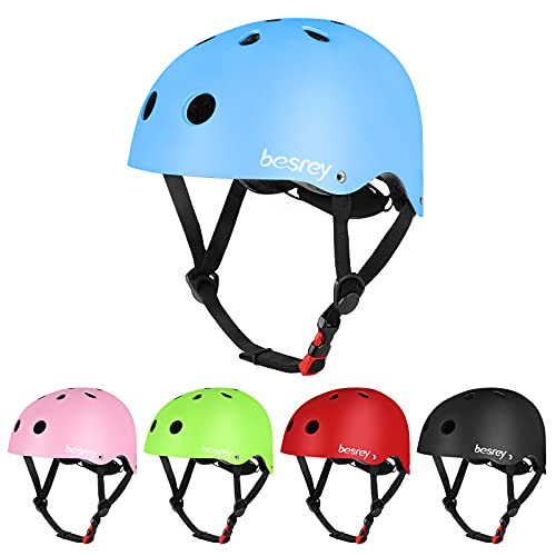 Casque de vélo garçon et Fille Casque de Planche à roulettes, Patins à roulettes de Scooter Casque de vélo léger et sûr pour Enfants de 3 à 12 Ans ,Multi-Sport, Bleu