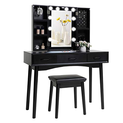 Iwell Large Vanity Table Set with 10 Lighted Mirror, 5 Storage Shelves, 3 Drawers, Makeup Vanity Dressing Table with Cushioned Stool for Bedroom, Gift for Women, Girl, Black