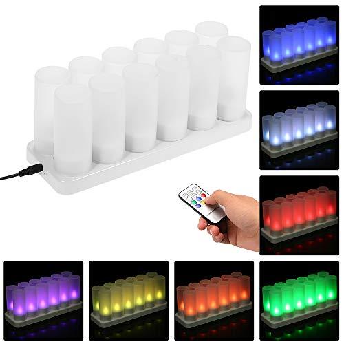 Decdeal Wiederaufladbare Kerzen LED Farbwechseln Flackernden Teelichter Fernbedienung mit Mattierten Tassen für Abendessen bei Kerzenlicht Hochzeits (4PCS / 6PCS/12PCS, Optional)