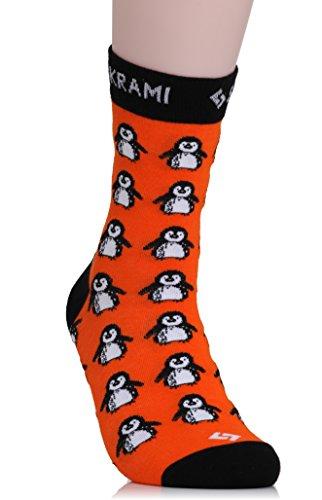 SUKRAMI Socken SEEU-9229 - Happy Bear Socks - Rosa-pinke Socken mit knuddeligen, neugierigen Bärchen, 41-47, Orangerot