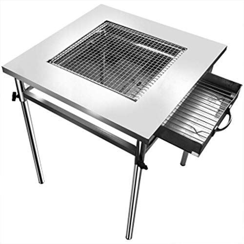 WFFF Barbecue grill - Stainless steel outdoor grill Folding portable grill Large commercial thickened enlarged barbecue table can be split Silver rectangular charcoal grill