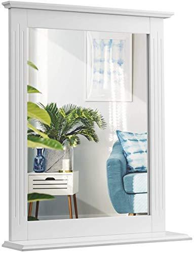 RELAX4LIFE Badspiegel mit Ablage, Wandspiegel aus Holz, Hängespigel, 57 cm x 12 cm x 68,5 cm, Spiegel zum Aufhängen, ideal für Badezimmer und Wohnzimmer, Flur, weiß
