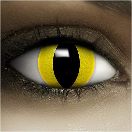 Farbige Kontaktlinsen ohne Stärke Katze + Kunstblut Kapseln + Kontaktlinsenbehälter, weich ohne Sehstaerke in gelb, 1 Paar Linsen (2 Stück)