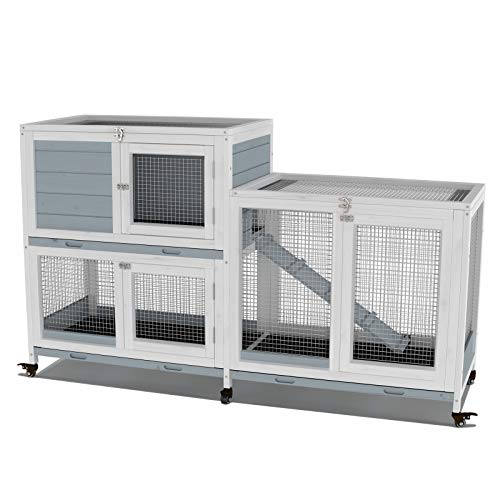 """GDLF Two Floors 58"""" Wooden Indoor Bunny Hutch Rabbit Cage on Wheels Guinea Pig PET House for Small to Medium Animals Waterproof No Leak Tray"""