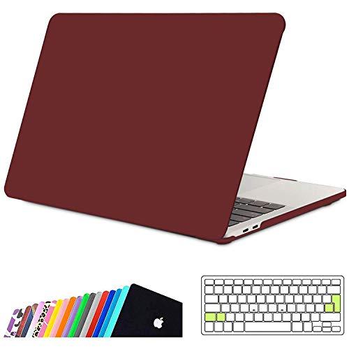 INESEON Custodia MacBook PRO 15 2019/2018/2017/2016,Rigida Case Cover e EU Versione Trasparente Tastiera Copertina per MacBook PRO 15 Pollici con Touch Bar/Touch ID Modello A1990 A1707, Vino Rosso