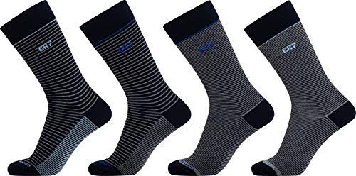 CR7 Herren 4-Pack Mens Giftbox Socken, Black/Grey/Blue Stripe, 40-46