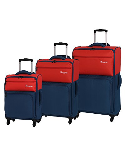 it luggage Duotone 4 Wheel Lightweight, Grenadine/Dark Blue, 3-Piece Set