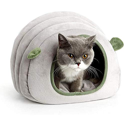 Cat Cave Bed Cat Small Dog Cosy Bed Pets Igloo Cave Winter Sleeping Bag Pet Warm House Cushion Detachable Washable Indoor Nest Bed for Cat Puppy,Gray