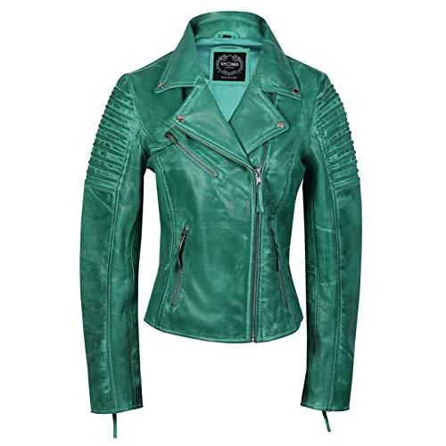 Xposed Chaqueta de motociclista para mujer, estilo vintage, ajustada, suave, de cuero auténtico, talla UK 6-24, color Verde, talla XX-Large