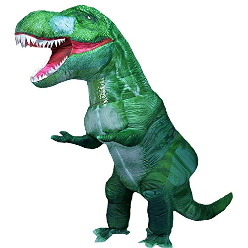 Newest Dinosaur Costumes Inflatable T-rex Costume Adult Blow up Halloween Costume Dino Suit (Green-1)