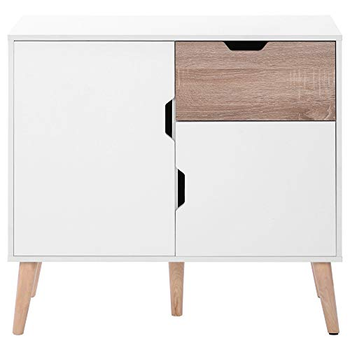 ZOEON Kommode Weiß - Sideboard Modern mit 1 Schublade und 2 Türen - Schubladenschrank Holz Massiv für Schlafzimmer Wohnzimmer Küche Badezimmer Flur