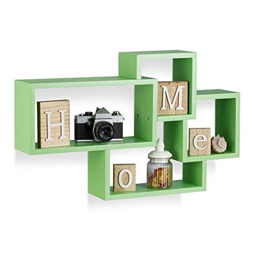 Relaxdays Wandregal Cube, 4 Fächer, Freischwebend, Modernes Design, Dekorativ, Belastbar, MDF, HBT: 42x69x12cm, Grün