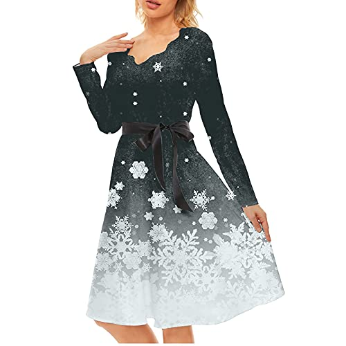 TTWOMEN Christmas Santa Snowflake Print Style Robe Ample à Manches Longues A-Line (Black, M)