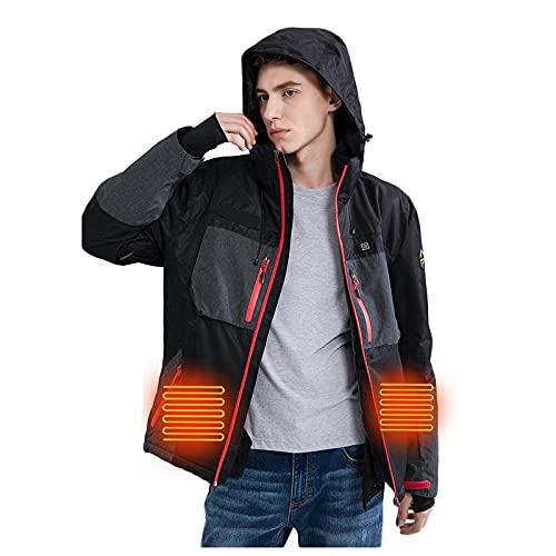HWZZ Chaqueta térmica para hombre, extremadamente fría y cortavientos, chaqueta cálida para la caza y la pesca, adecuada para la aventura al aire libre, Negro, XL