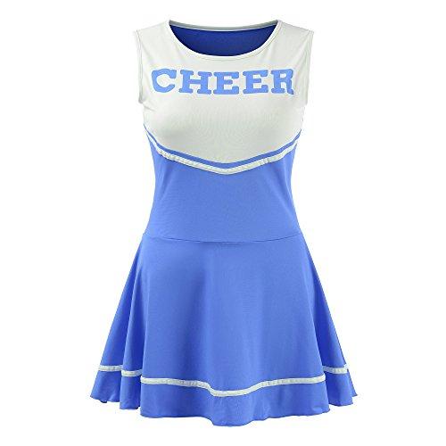 OurLore Damen Musik-Uniform Cheerleader Kostüm Outfit -  Blau -