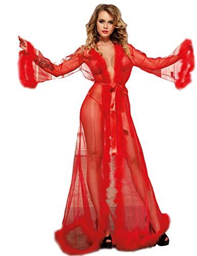 ohyeahlady Damen Lingerie Robe Durchsichtig Langes Spitzenkleid Cardigan Reizwäsche Dessous Set mit Gürtel(Rot,5XL=EUR 48-50)